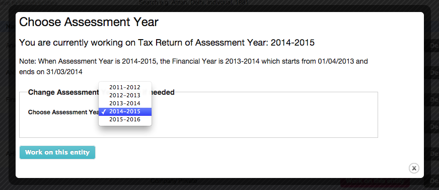 How to select AY 2015-16 in TaxCloud
