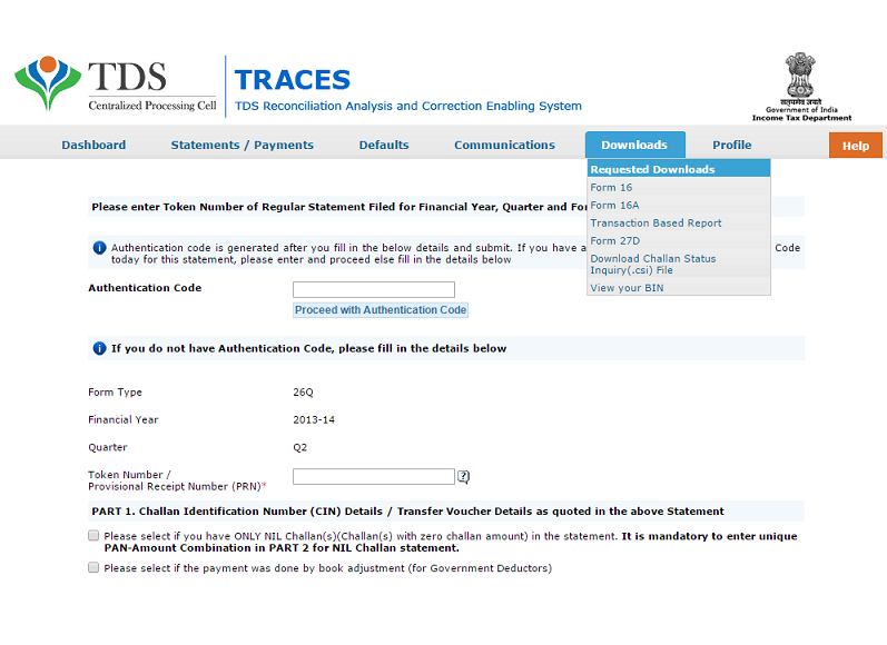 TRACES requested downloads