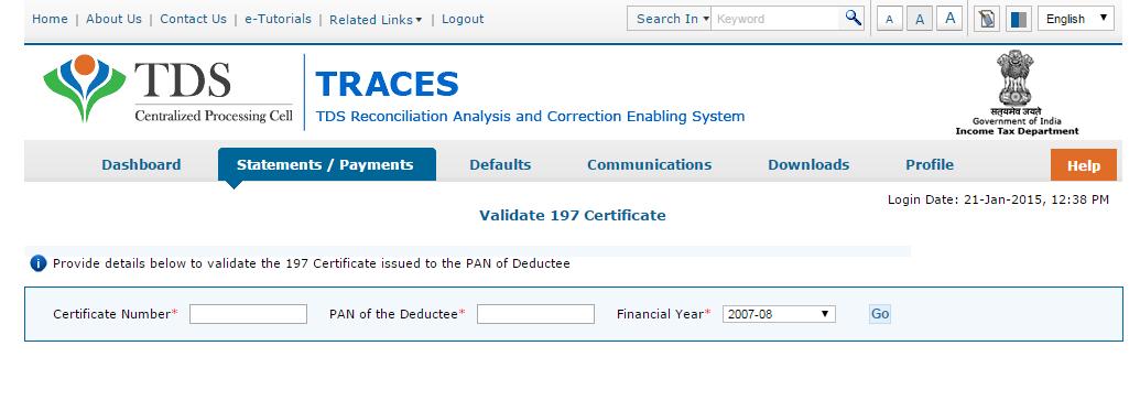 197 Certificate