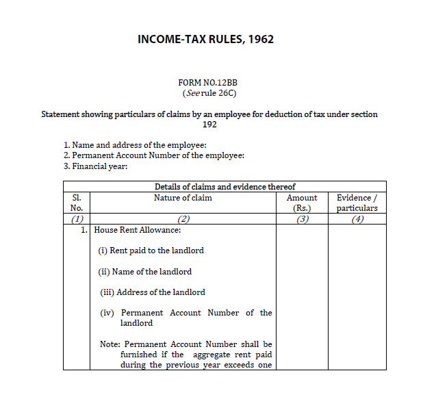 Investment Declaration Guide Form 12bb How To Fill Form 12bb