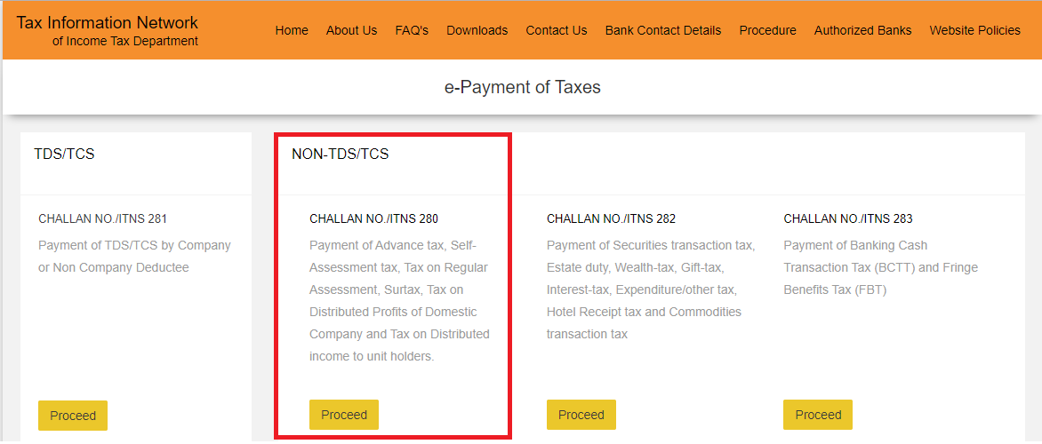 Challan 280 - Income Tax Online Payment using Challan 280