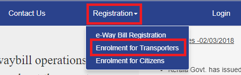 registration transporter eway bill