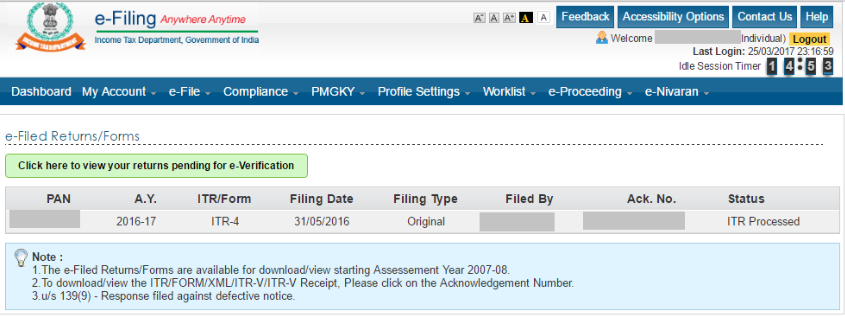 download your ITR-V from the Department website