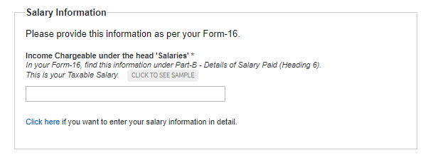 salary info. for e-file itr