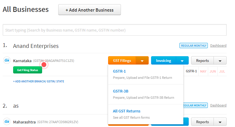 GST logine page on Cleartax GST Software