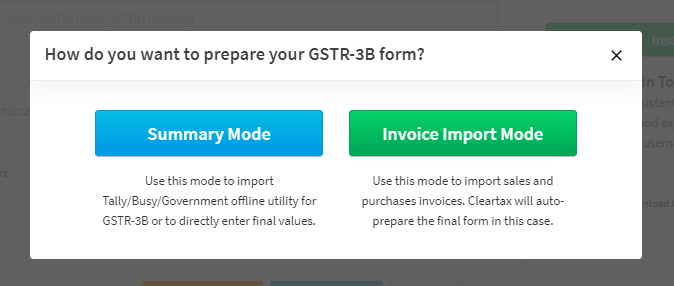Summary Mode of Cleartax GST