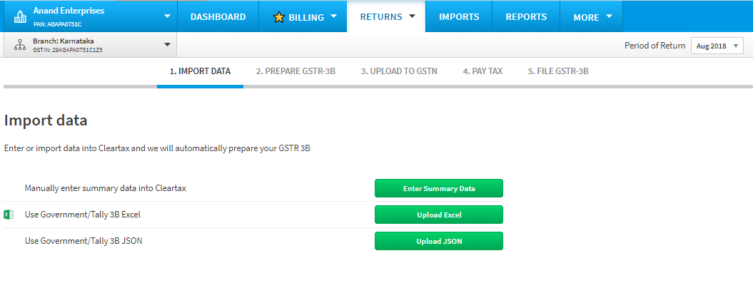 Import data to Cleartax GST