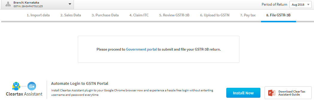 Upload GSTR-3b in Cleartax GST