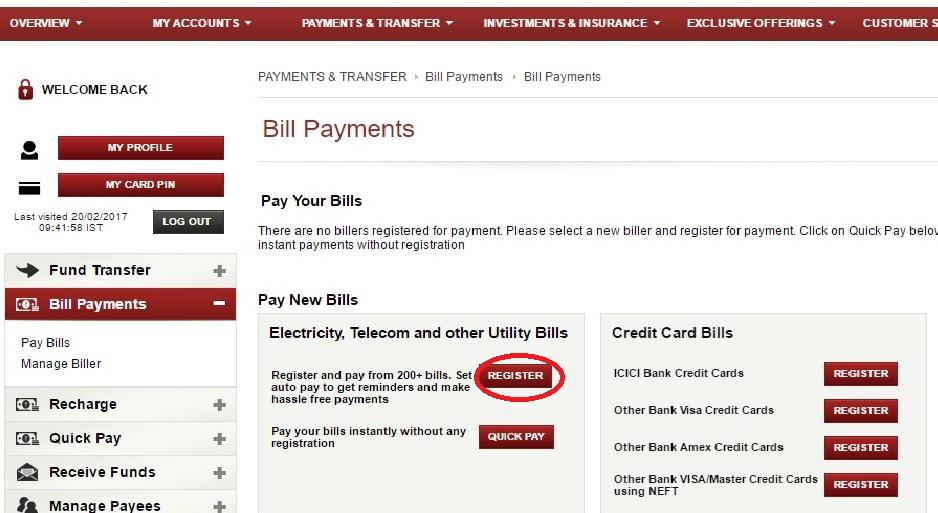 ICICI netbanking SIP in ICICI bank-Bill payments