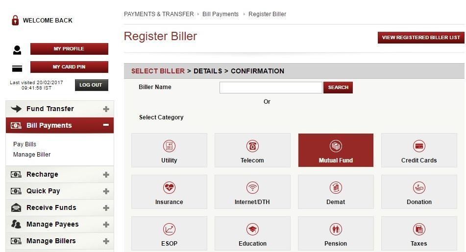 SIP in ICICI bank-Register new biller