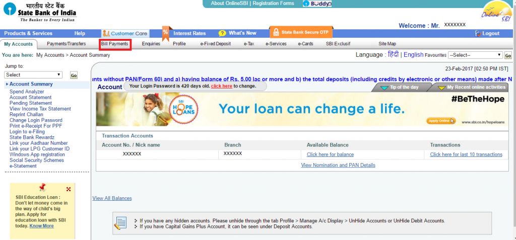 How to add i-SIP URN number in SBI Netbanking