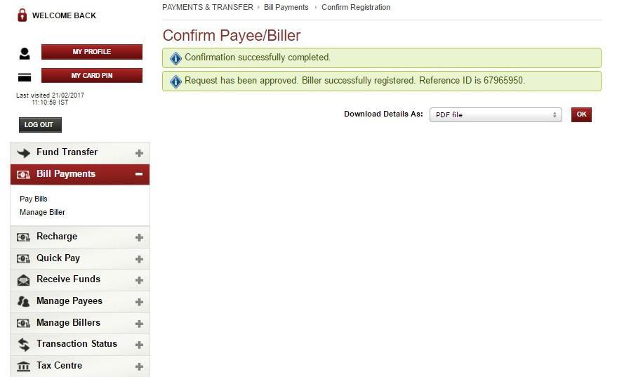 SIP in ICICI bank-Biller confirmation