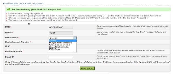 Step 6 Select The Bank Name And Then Enter Account Number Ifsc Code Your Registered Mobile Click On Prevalidate