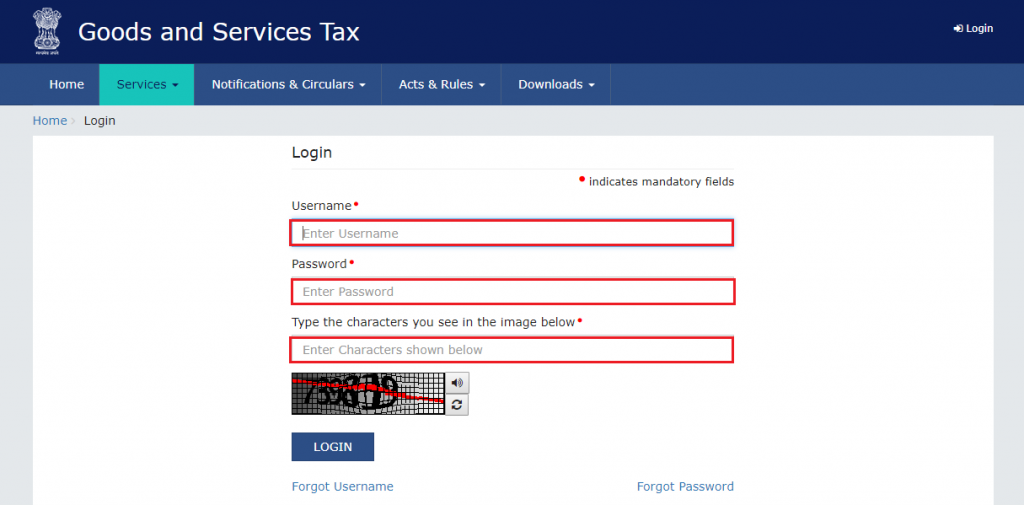 steps for gst portal login