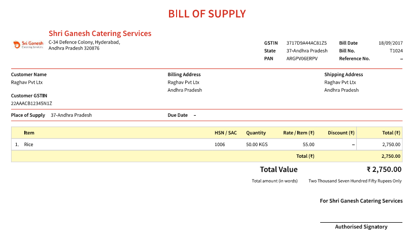 What is a Bill of Supply?