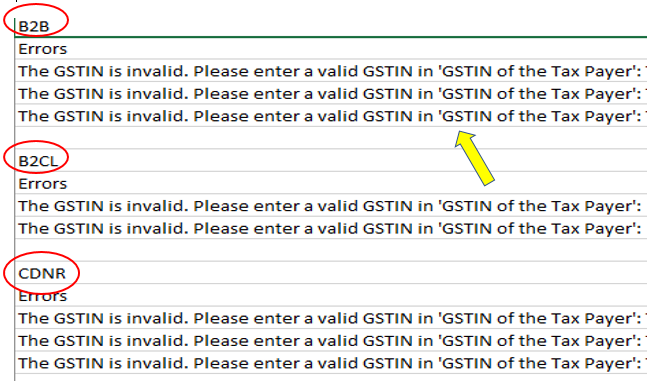 GSTR1 JSON errors and resolutions | GST Portal