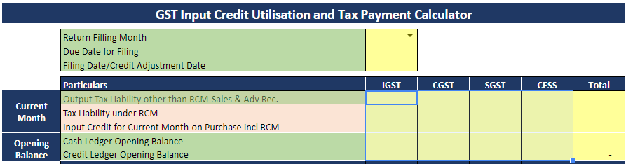 GST Tax payment Calculator