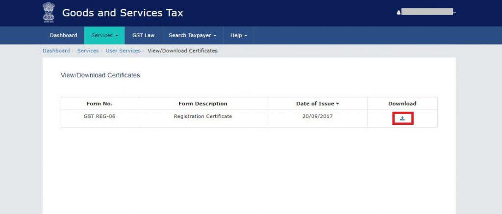 GST Registration Certificate - Download from gst gov in