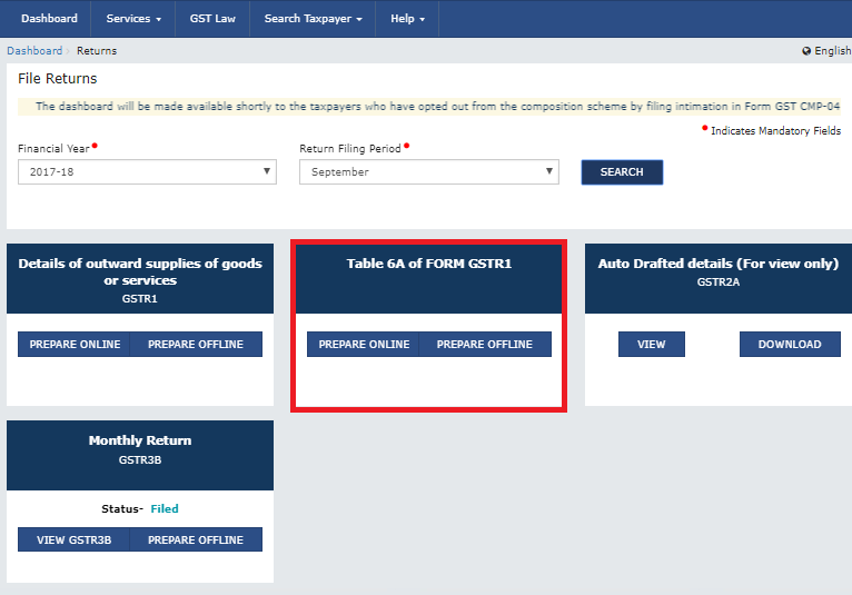 Table 6A of GSTR-1 : Refund on Export