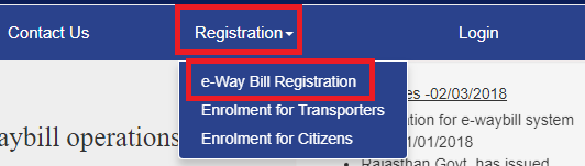 registration eway bill