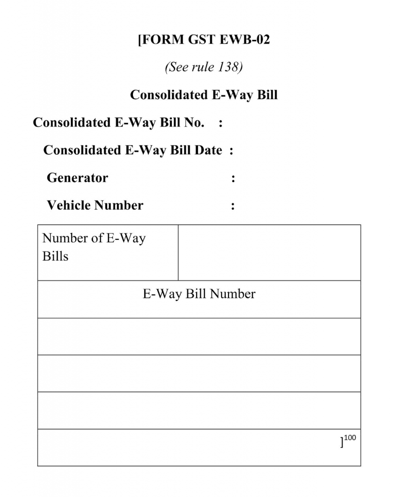 the view of how the consolidated e way bill looks like when generated online