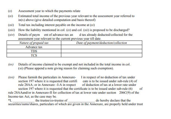 Form 13 - Non-Deduction / Lower Deduction of TDS under Section 197