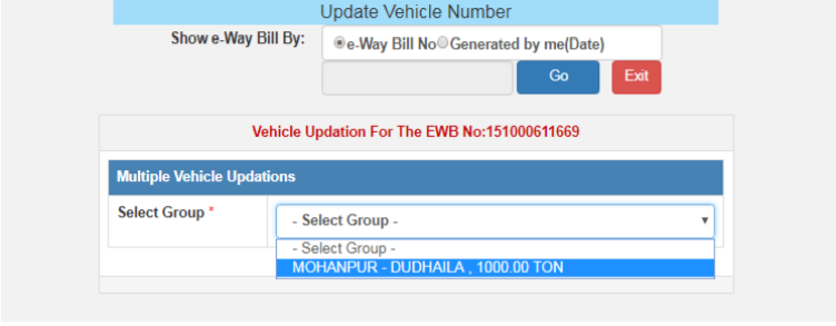 Steps to generate multiple vehicle E-way bill: