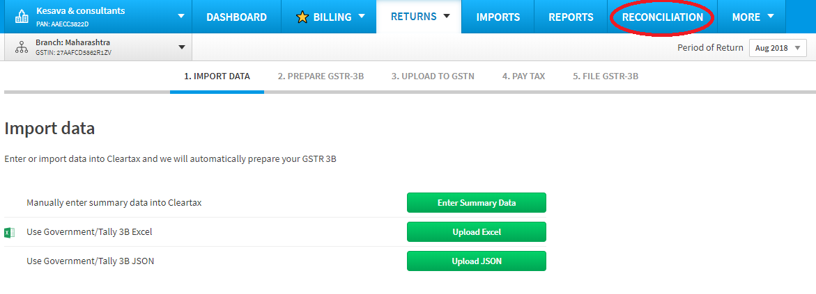 gstr 2a reconciliation guide on cleartax advanced recon tool