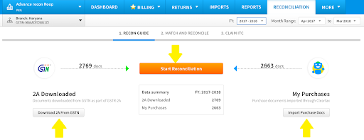 Reconciliation process starting page in Cleartax GST