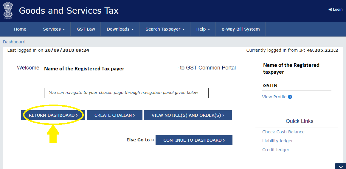 Return Dashboard after GST login