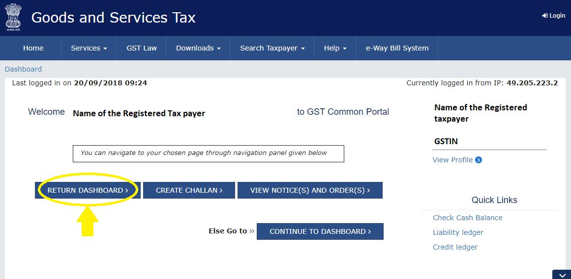 Return Dashboard after GST login