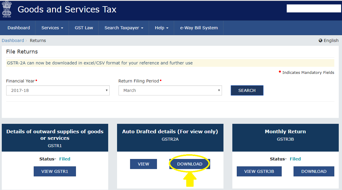 Select month and year after GST login