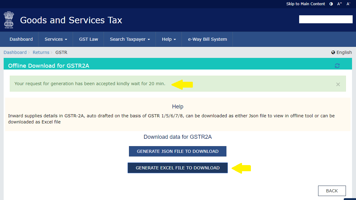 Offline download for GSTR 2A in GST portal