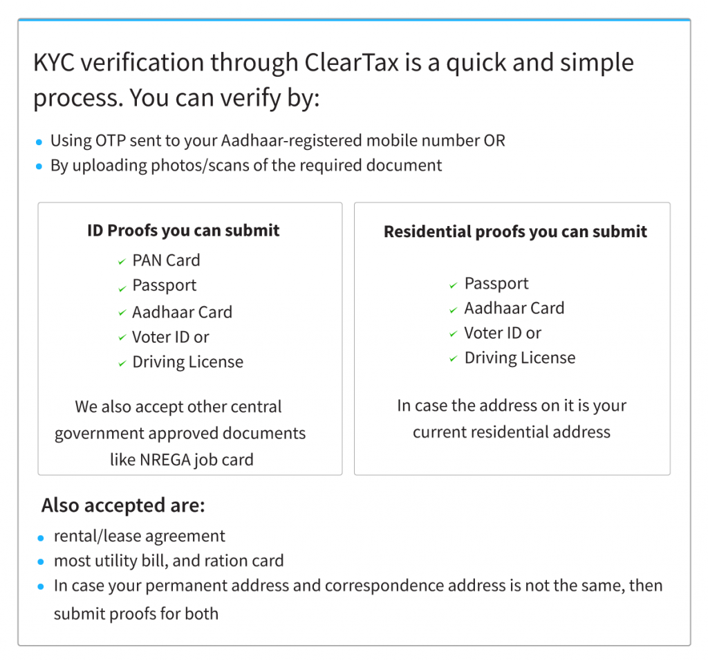KYC verification through ClearTax