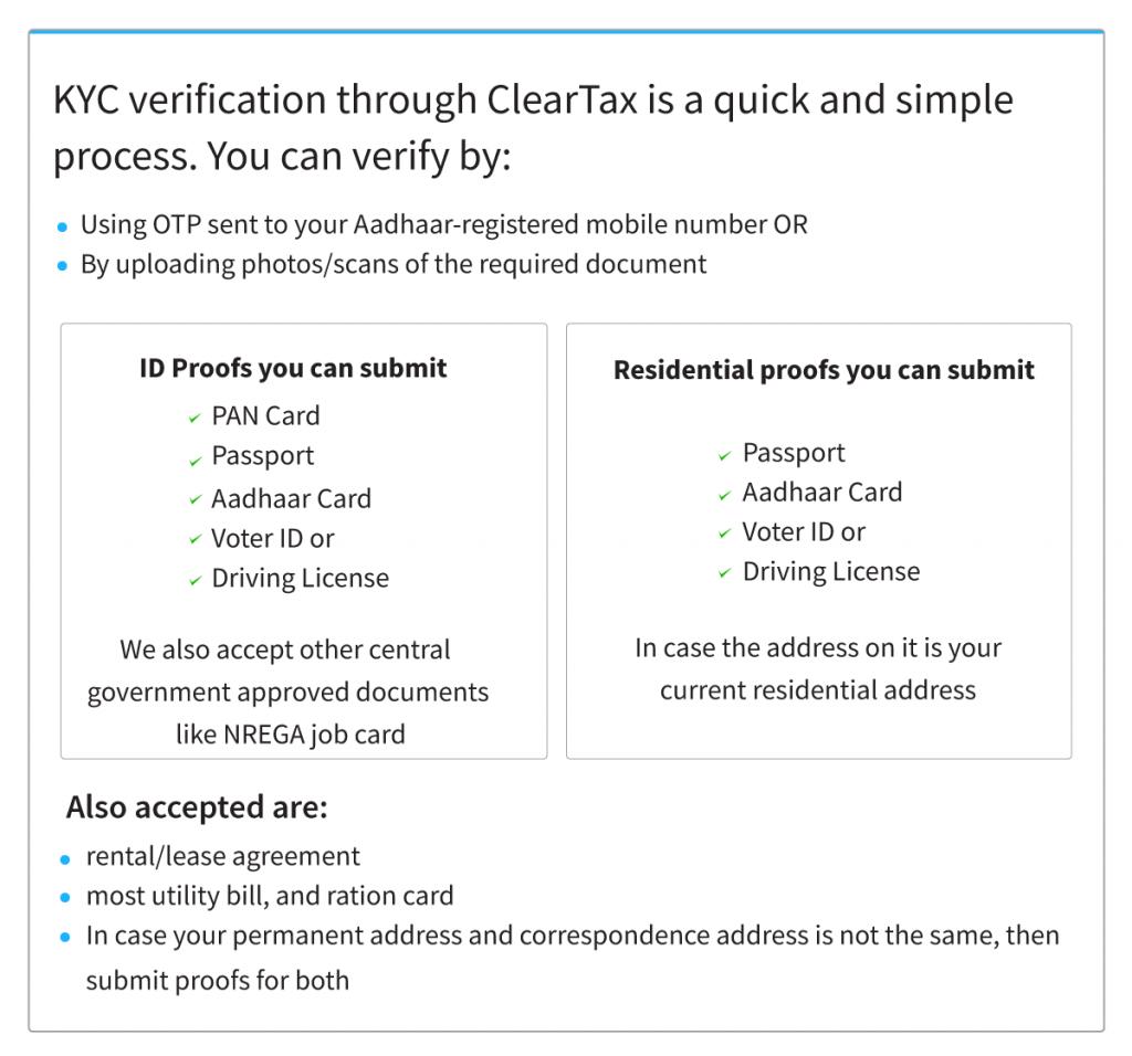 KYC verification through ClearTax
