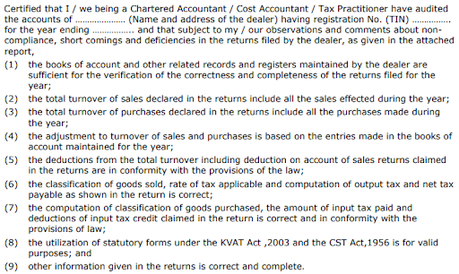 Certificate from Chartered Accountant for KVAT 240