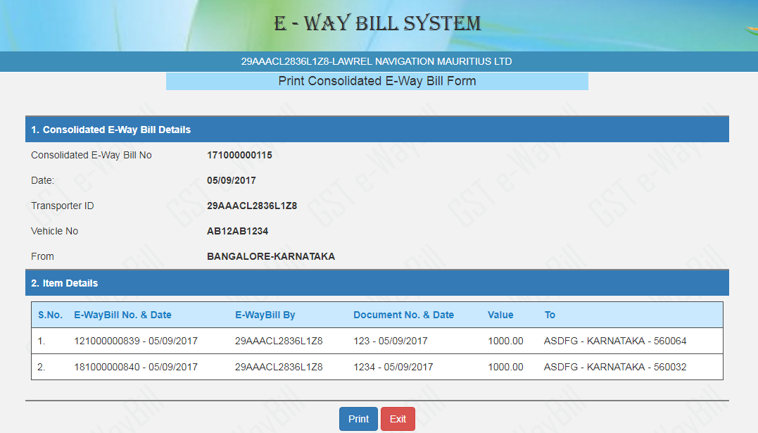 How to generate Consolidated Eway Bills on the E Way Bill