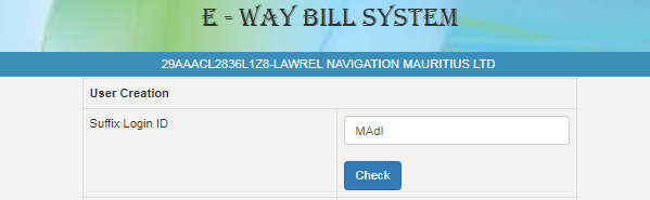 e-Way Bill create sub-user 1