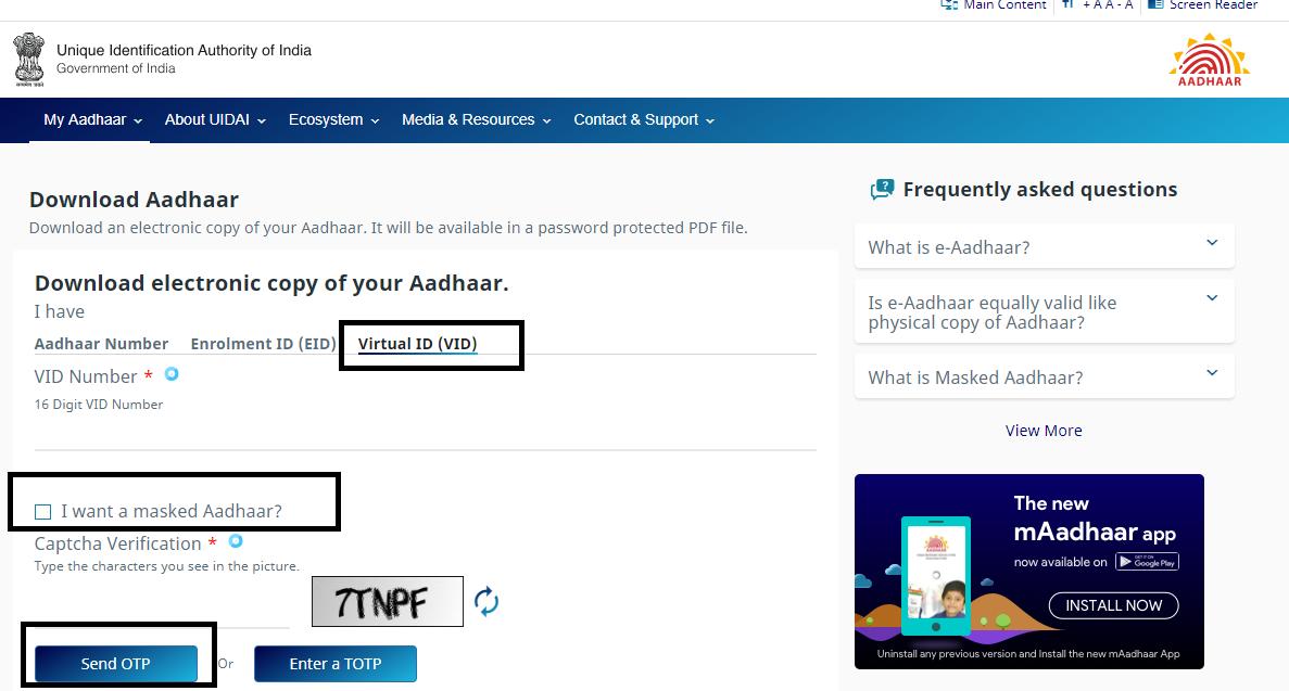 Enter Virtual ID in aadhaar