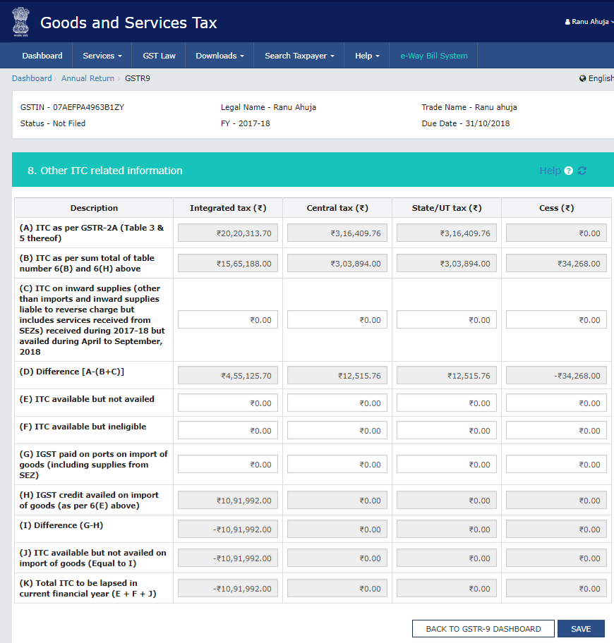 Array - how to fill tables 6 8 and 12 13 in gstr 9 explained  rh   cleartax in