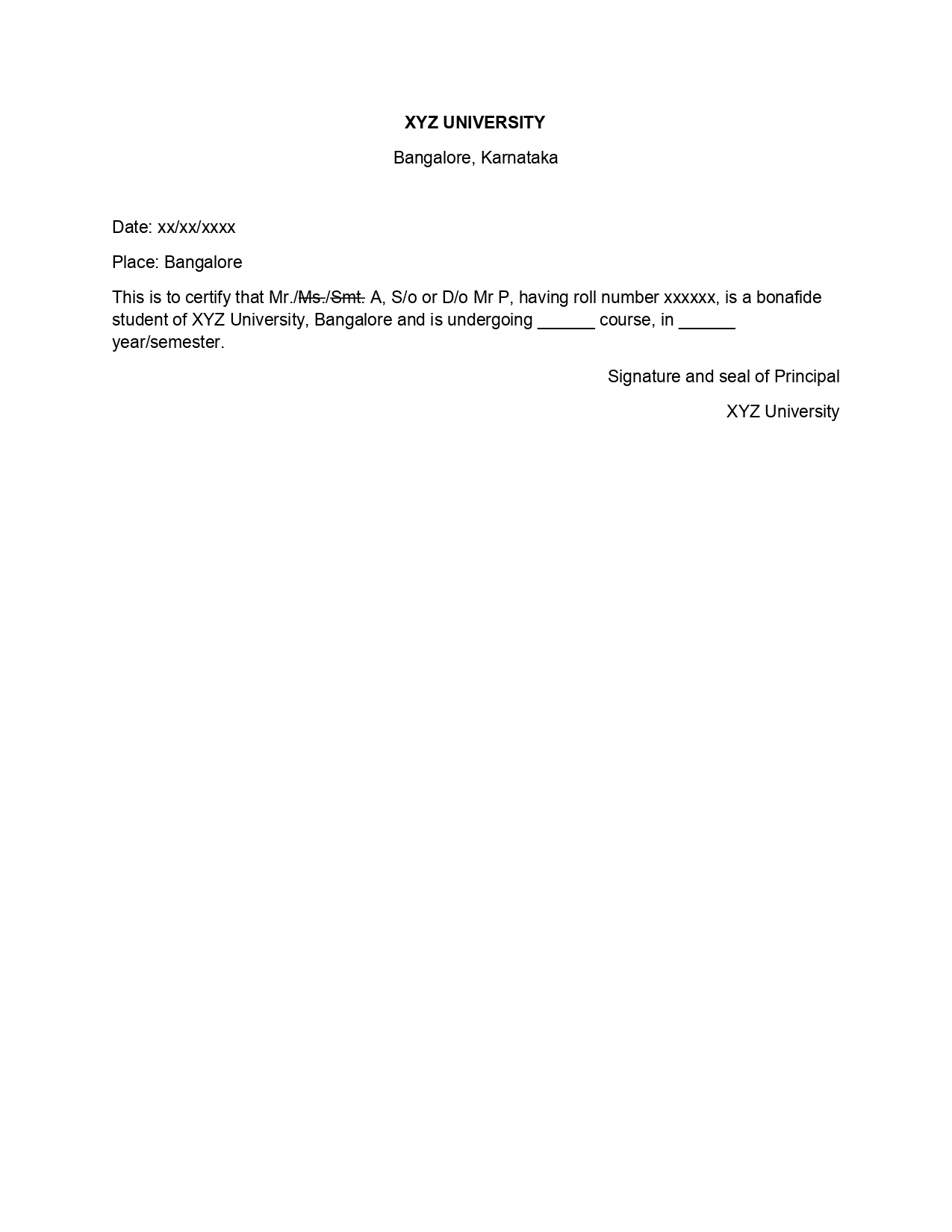 Bonafide Certificate Introduction Application Format
