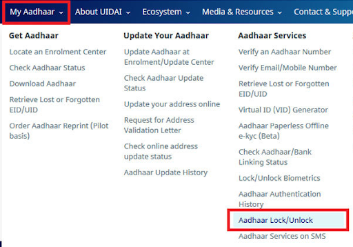 Lock aadhaar number