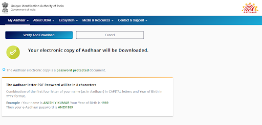 Aadhaar Downloaded