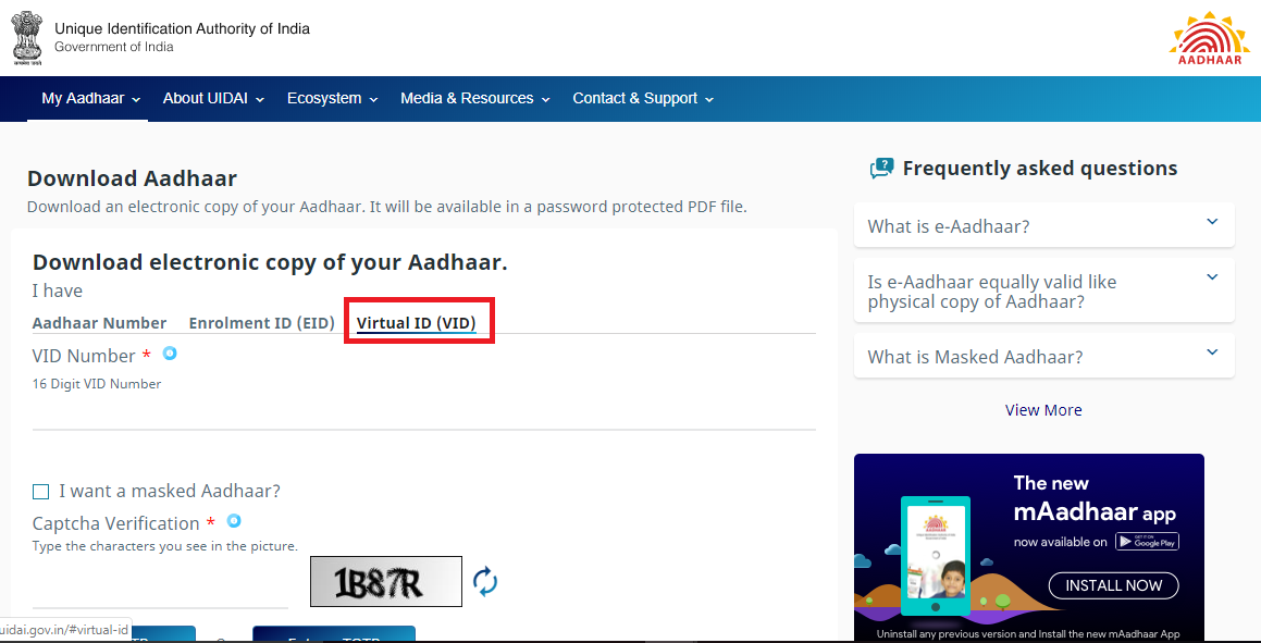 Virtual ID Aadhaar
