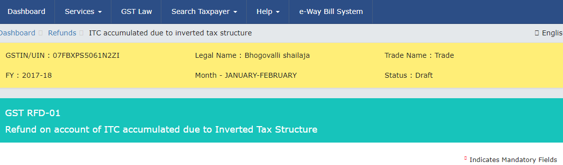 Refund on account of ITC accumulated due to Inverted Tax Structure