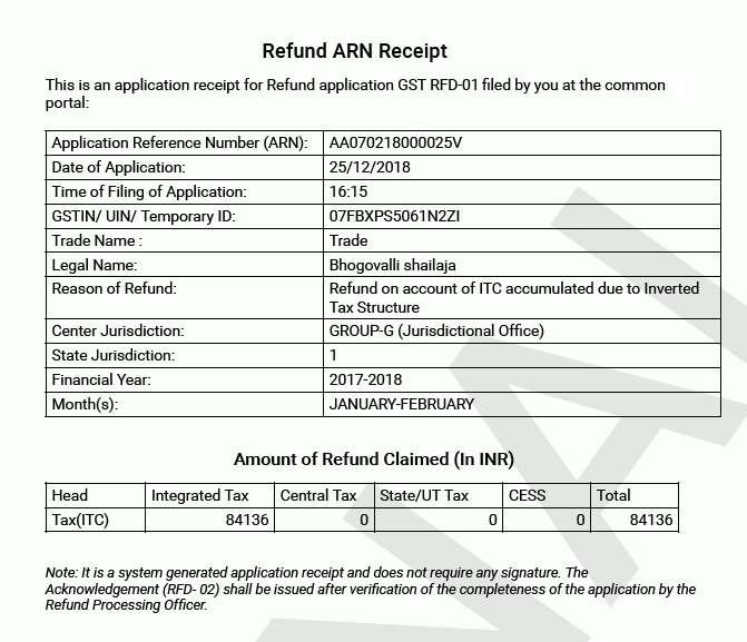 Refund ARN receipt