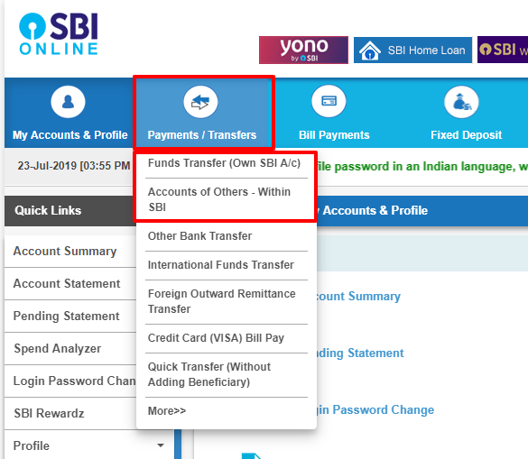 internet banking charges in sbi