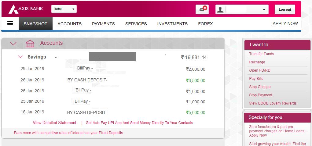 Axis Bank Account Balance 3