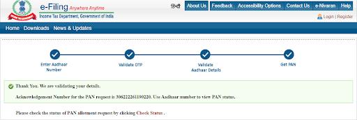 Instant PAN through aadhaar