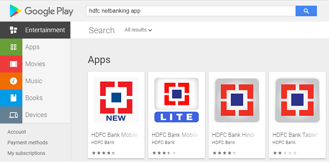 HDFC Mobile Register 1